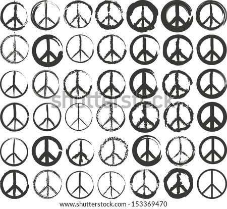 set of isolated stylized peace symbol
