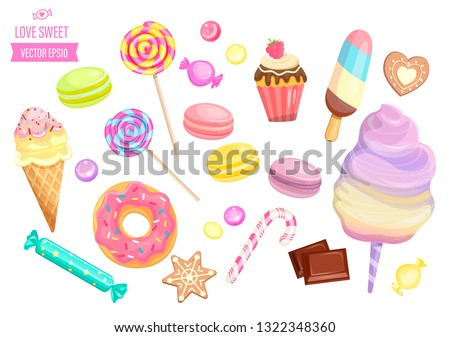Set of isolated sweets on white background-candy,ice cream,cotton candy,chocolate,macaroon,bisquit, cookies,candy cane,lollipop,caramel.Template for confectionery,shops,banner,poster,advertise.Vector