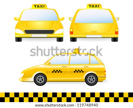 set of isolated taxi car silhouette on white background with detail