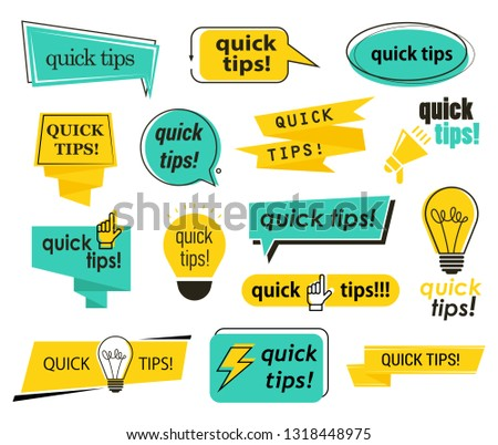 Set of isolated tips icons with hand and bulb, lamp and megaphone, phrases.
