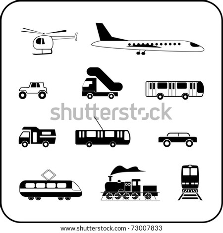 Set of isolated transportation icons on white background. Transport modes - airliner, train, bus, car, helicopter, crossover, etc.