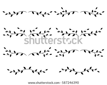 set of isolated tree branches with leaves Stockfoto ©