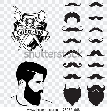 Set of isolated vector Beard style. Beards and mustaches types. barber big collection. Silhouette vintage beard and mustache. Barber cartoon black beard label. Hipster style barber beard icon.