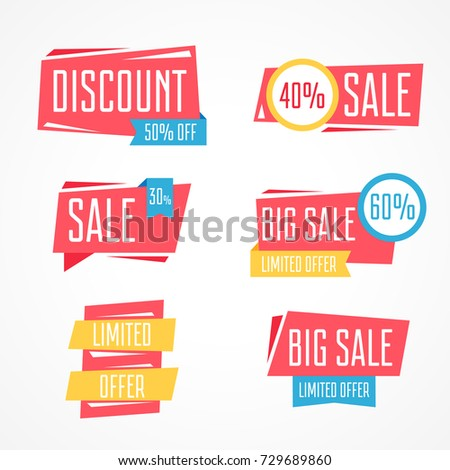 Set of isolated vector colorful labels for sale season on white background