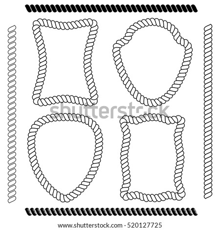 Shutterstock Set of isolated vector frames of rectangular shape and the shape of the shield simulating marine rope on a white background. Vector brushes imitating rope