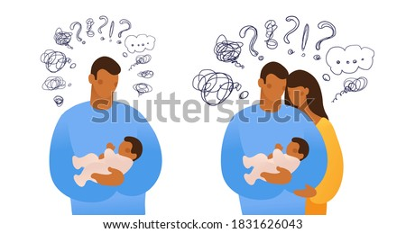Set of isolated vector illustrations about issues of childbearing, upbringing and caring for a newborn, depression. A man hugs a child and thinks, cartoon design