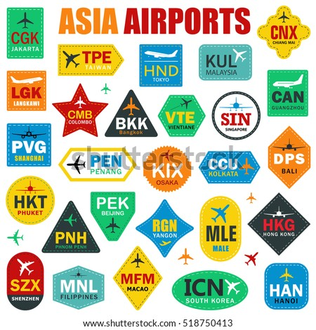 Set of Isolated Vector Tags with Asia Airport Codes. Mix of Airplane Labels. Vector Illustration for Travelers: Famous Asia Airport Abbreviations on White