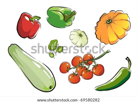 set of isolated vegetables part 1.  illustration in aquarelle style.