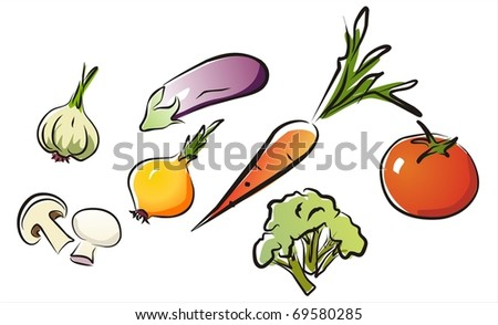 set of isolated vegetables part 2.  illustration in aquarelle style.