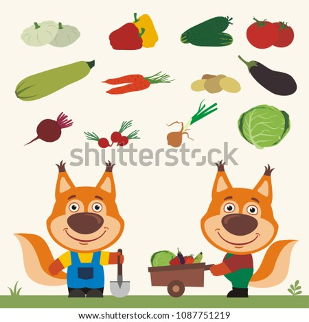 Set of isolated vegetables: squash, peppers, cucumbers, tomatoes, zucchini, carrots, potatoes, eggplant, beet, radishes, cabbage, onion. Two funny squirrels farmers.