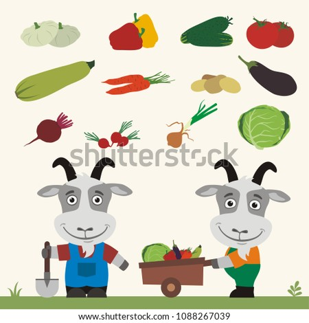 Set of isolated vegetables: squash, peppers, cucumbers, tomatoes, zucchini, carrots, potatoes, eggplant, beet, radishes, cabbage, onion. Two funny goats farmers.
