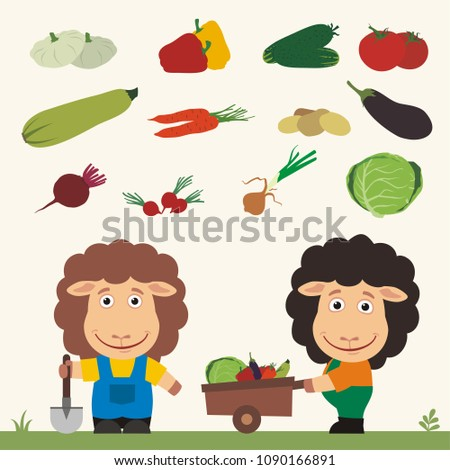 Set of isolated vegetables: squash, peppers, cucumbers, tomatoes, zucchini, carrots, potatoes, eggplant, beet, radishes, cabbage, onion. Two funny sheep farmers.