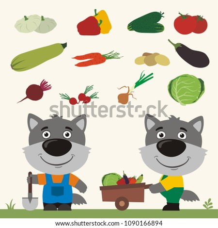 Set of isolated vegetables: squash, peppers, cucumbers, tomatoes, zucchini, carrots, potatoes, eggplant, beet, radishes, cabbage, onion. Two funny wolves farmers.