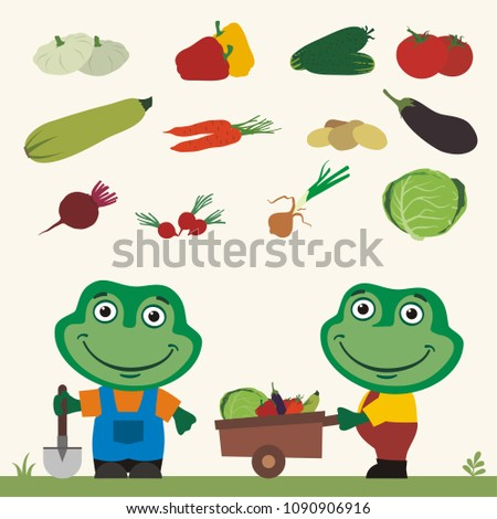 Set of isolated vegetables: squash, peppers, cucumbers, tomatoes, zucchini, carrots, potatoes, eggplant, beet, radishes, cabbage, onion. Two funny frogs farmers.