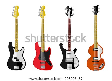 Set of isolated vintage bass guitars  Flat design. Vector illustration.  Foto d'archivio ©