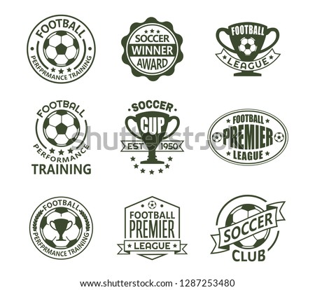 Set of isolated vintage european football signs. Retro emblems with ball and ribbon, cup or trophy for soccer club. Logo for national tournament or team, training club. Sport and competition theme