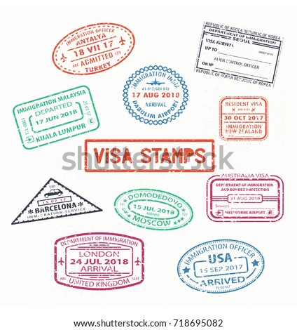 set of isolated visa passport
