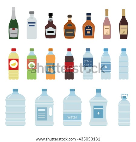 Set of isolated water and alcohol bottle icon on white background.