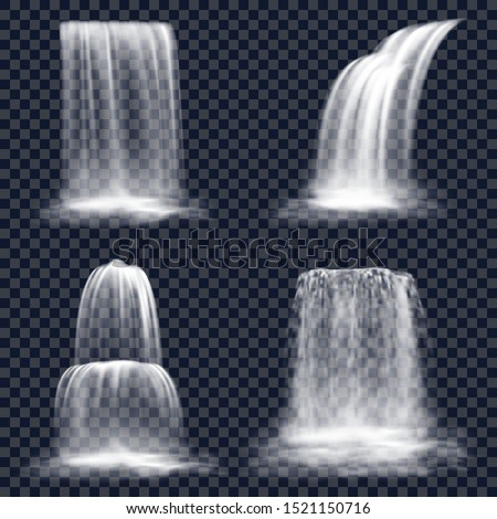 Set of isolated waterfall on transparent background. Falling river water or mountain fall, cascade aqua stream. Nature fluid splash and drop. Realistic hill fountain scene. Nature and flow, landscape