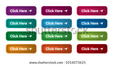 Set of 12 isolated web buttons with rounded corners, colorful and text Click Here