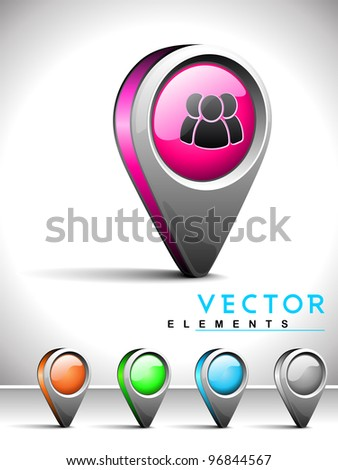 Set of isolated website and internet web 2.0 icons or navigation pins for grouping, following, sharing and connecting with web users symbol.