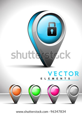 Set of isolated website and internet web 2.0 icons or navigation pins with Lock symbol for login or security.