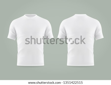 Set of isolated white t-shirt or realistic apparel with u-neck and short sleeve. 3d blank or empty, clear cotton t shirt. Men and women, male and female clothing. Man and woman uniform mockup