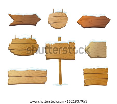 Set of isolated wooden blank signboards and pointers covered in snow. Cartoon vintage signs in different shapes. - Vector illusration