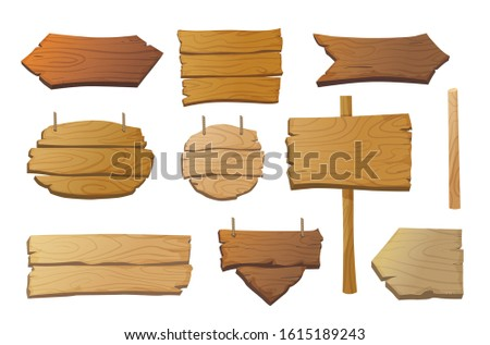Set of isolated wooden signboards and pointers in different shapes and shades. Cartoon vintage signs. - Vector illusration