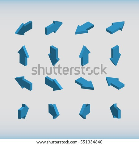 Set of isometric arrows blue. Vector illustration.