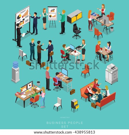 Set of ISOMETRIC BUSINESS PEOPLE TEAMWORK MEETING in office, share idea,  info graphic vector design