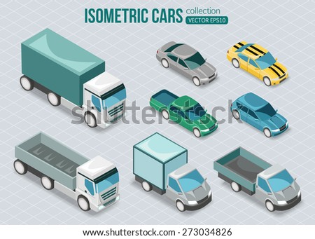 set of isometric cars vector