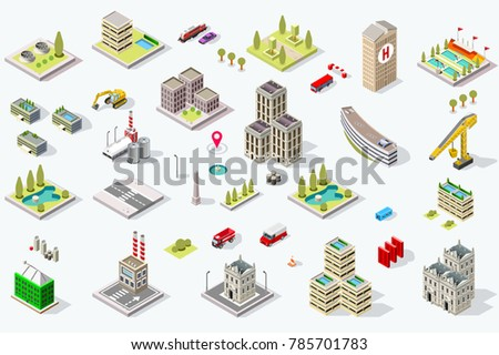set of isometric city buildings