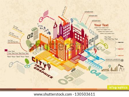 set of isometric city social...