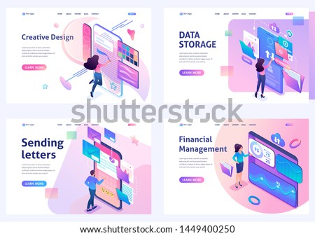 Set of isometric concepts. Financial management, data storage, sending letters, creative design. For Landing page concepts and web design