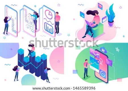 Set of isometric concepts social networks, data analysis, business analysis, data collection. For Concept for web design