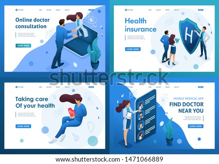 Set of isometric concepts.work of doctors for the preservation and promotion of health. For Landing page concepts and web design.