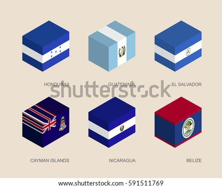 set of isometric 3d boxes with