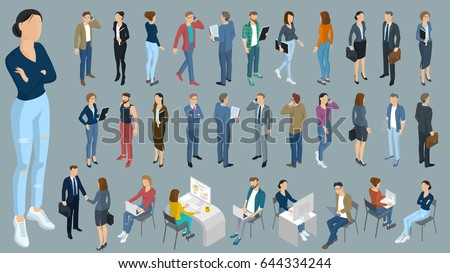Set of isometric 3d flat design vector standing and sitting people different characters, styles and professions. Isometric acting man full length diverse acting poses front and back view collection