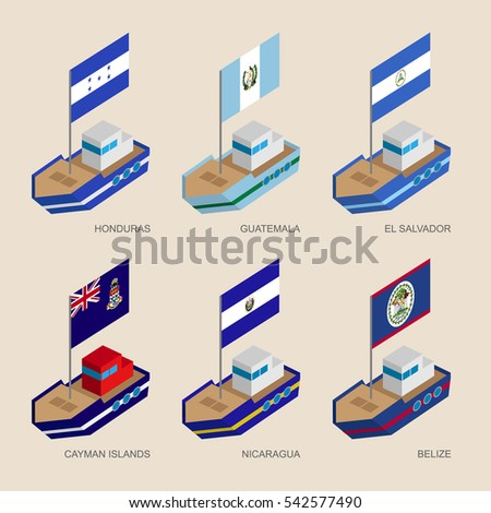 set of isometric 3d ships with