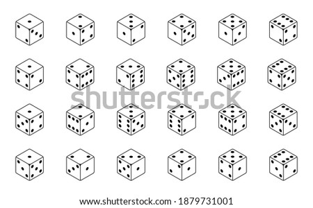 Set of isometric dice combination. Poker gambling cubes for casino isolated black and white vector illustration. Stock photo ©