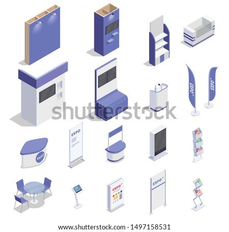 Set of isometric empty expo stands counters screen shelves for advertising goods isolated on white background 3d vector illustration