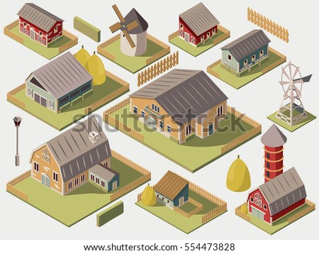 set of isometric farms with