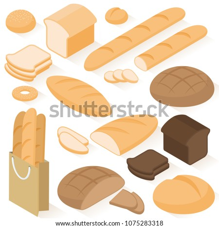 Set of isometric flat design vector isolated on white background  bread icons: rye, wheat, whole grain, sliced bread, sandwich, bagel, french baguette, bun.