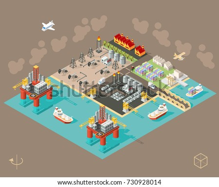 Set of Isometric High Quality City Element on Brown Background . City