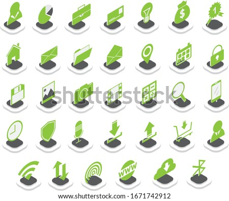 Set of Isometric Icons with Green Color. Create with Adobe Illustrator CC 2019