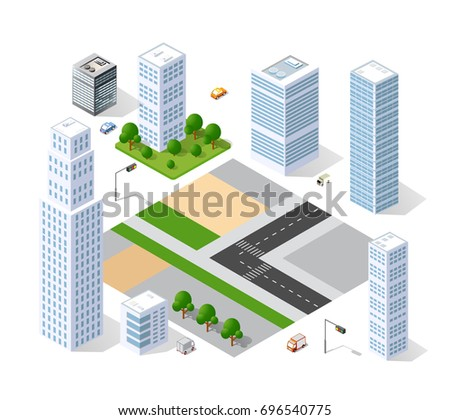 Set of isometric objects and elements for construction and constructing the urban area of the city infrastructure with transport, streets, houses and trees