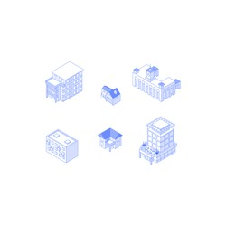 Set of isometric objects. Monochrome line art city buildings collection. Apartment houses cottages railway station office building