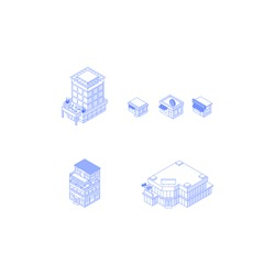 Set of isometric objects. Monochrome line art city buildings collection. Hotel theatre office building mall shops cafes