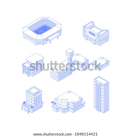 Set of isometric objects. Monochrome line art city buildings collection. Stadium theatre condo airport hotel office building mall high-rise apartment house